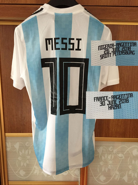 2018 Match Worn Player Issue Messi Kun Aguero Dybala With Match Details Can Custom Any Player Any Name Any Number Soccer Jersey