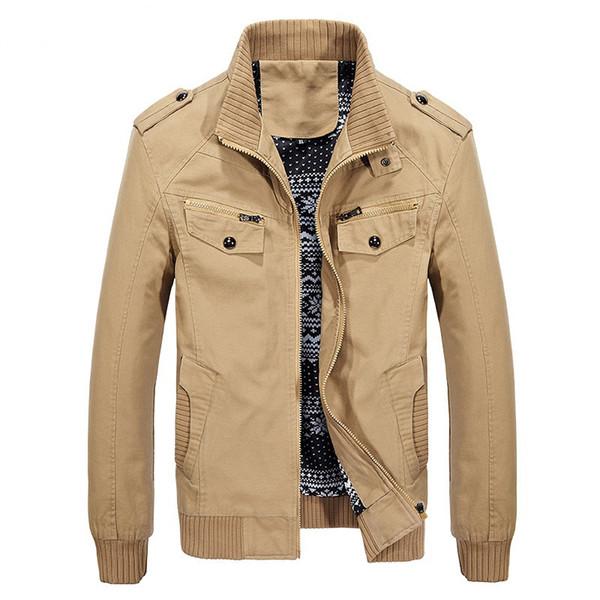 Großhandel Frühling Baumwolle Military Jacke Männer Plus Größe 4XL Herren Armee Jacke Reißverschluss Stehkragen Cargo Jacke Männer Bomber Von
