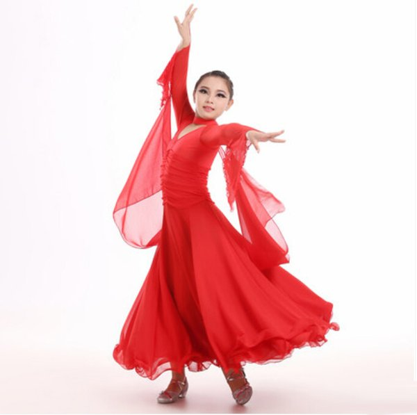 Red/White/Black Long Tutu Skirts Dance Dress For Girls Child Ballroom Dance Competition Dresses Robe Latine Waltz/Modern Costume