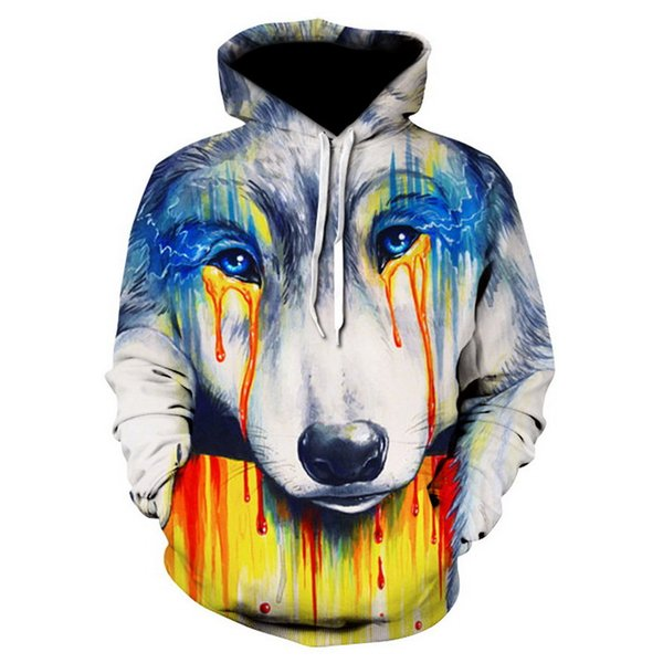 2018 New Fashion 3D Men/women Hooded Hoodies With Hat Print Creative painting Wolf 3d Sweatshirts