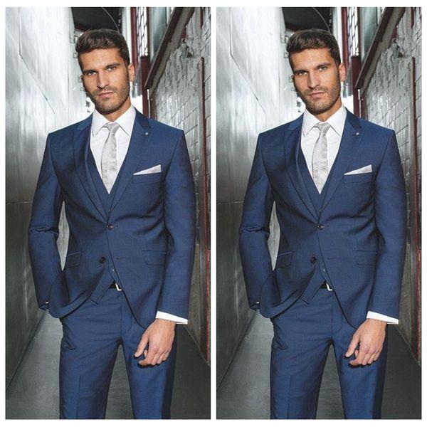 Vintage Formal Business Wear Blue Men Groom Wedding Suits Two ...