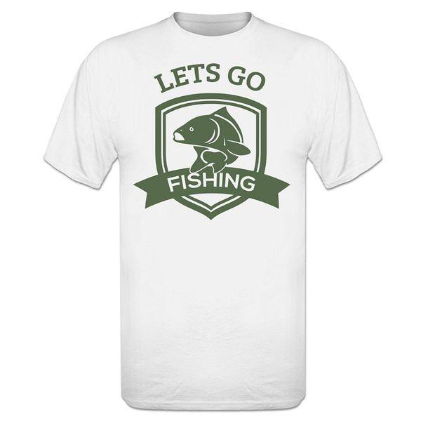 Custom T Shirt Design Crew Neck Design Let's Go Fishinger T-Shirt Short Sleeve T Shirts For Men Fashion New Top Tees Tshirts
