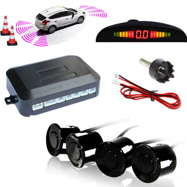 DC12V LED BIBIBI Car Parking 4 Sensors Auto Car Reverse Backup Rear Buzzer Radar System Kit Sound Alarm