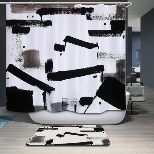 Smiry Chinese Style Tuschmalerei Duschvorhang Polyester Wasserdichtes  Modernes Aquarell Druck Schloss Bad Vorhang Gordijnen