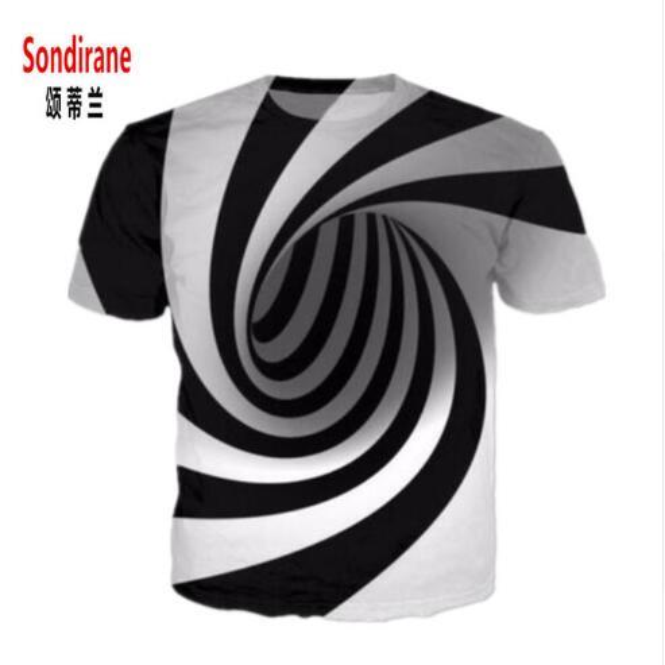 New Fashion Womens/Mens Black and White Vertigo Hypnotic 3D Print T Shirt Casual Summer Short Sleeve Funny Tops Tees