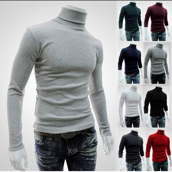 Dropshipping Winter Men Sweater Turtleneck Pullover 2018 Fashion Solid Color Slim Knitwear 8 Color Elastic Men Clothes Black Red