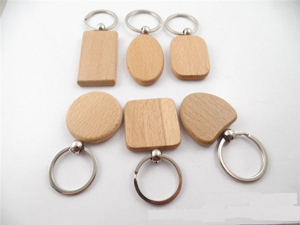 DHLfree 800pcs customize DIY Blank Wooden Key Chain Rectangle Heart Round Ellipse Carving Key ring Wood Key Chain Ring