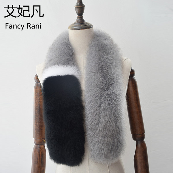 100cm Long Real Fox Fur Collar Patchwork Color Ring Female Fox Fur Collar Scarf for Womens 100% Genuine Scarves