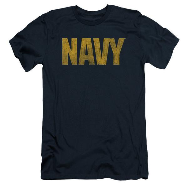 Logo de la marina de guerra Slim Fit Camiseta para hombre 2018 marca de moda Camiseta con cuello en O 100% algodón Camiseta Tops Camiseta personalizada Camiseta estampada ambiental Hombre