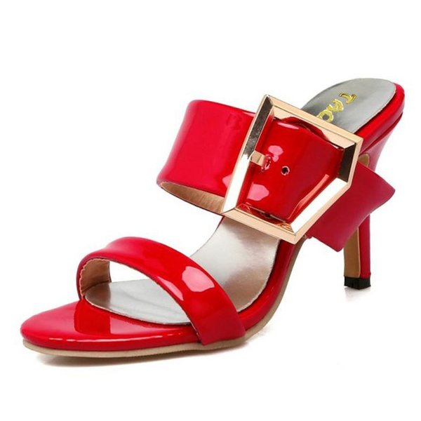 Women Sandals Women Shoes Slip On Slipper Thin Heels Sandal Buckle Lady Fashion For Holidays Zapatos Mujer Size 34-39