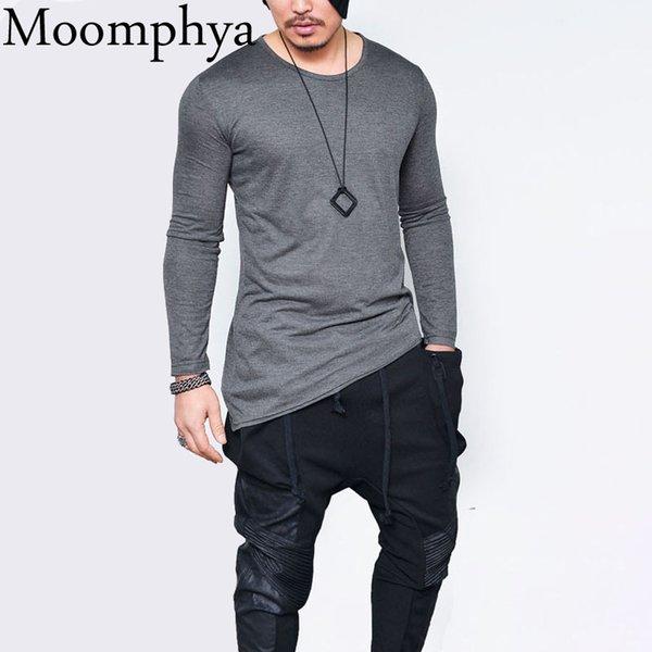 Moomphya 2018 Мужская футболка с длинным рукавом в стиле хип-хоп Асимметричная длинная футболка с подолом Мужская футболка Уличная одежда топы Смешные футболки