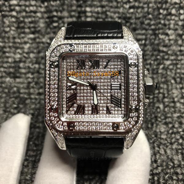Relógio de diamante completo de alta qualidade de quartzo movimento homens 42 milímetros 3 pulseira de couro de cor 316 aço inoxidável conjunto de relógio de moda de hip hop de diamante