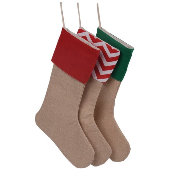 Wholesale Chirtsmas day children candy gifts packed stockings canvas 7 style chevron x'mas day package sack decoration socks