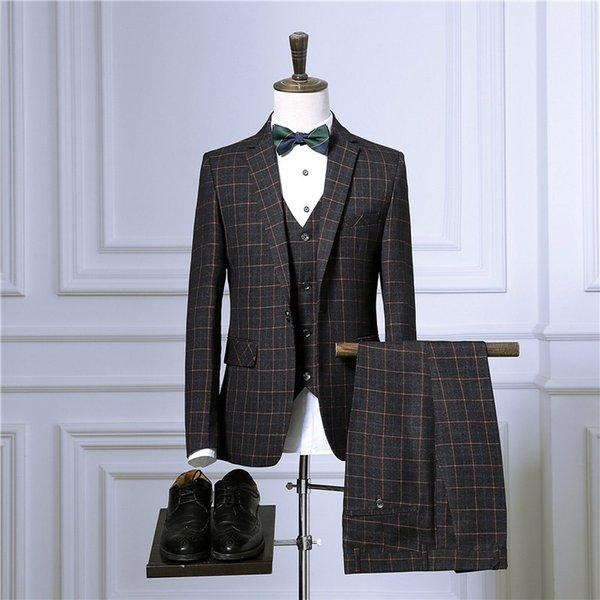 Burgundy Plaid Men Suits for Wedding Groom Tuxedos Customn Made Best Man Blazers Jacket 3Pieces Pants Vest Slim Fit Groomsmen Suit Party