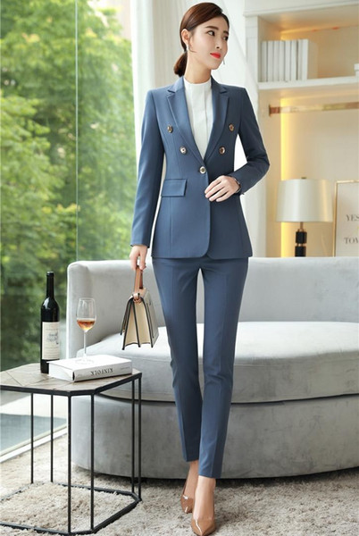 New 2019 Formal Fashion Ladies Pant Suits for Women Business Suits Blazer and Jacket Sets Work Wear Office Uniform Styles Blue