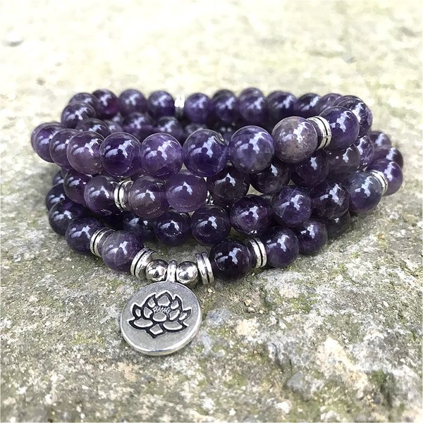 8mm Natural Beads Amethysts 108 Mala Bracelet or Necklace OM Lotus Charm Yoga Bracelet Handmade Jewelry Purple