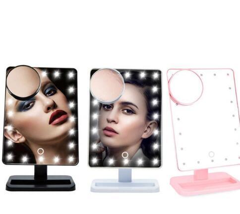 20 Pantalla táctil LED Espejo de maquillaje de mesa Espejo cosmético iluminado MAQUILLAJE Lupa Pantalla táctil LED Espejo de maquillaje KKA4094