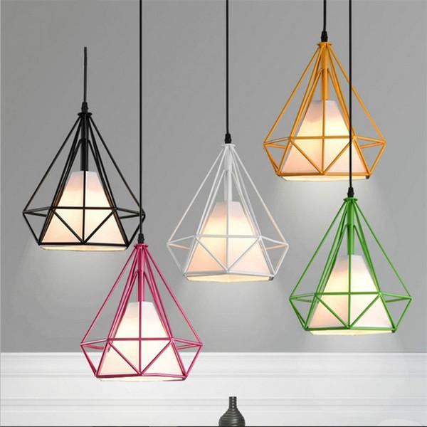 6 couleur moderne black Birdcage suspension suspendus fer minimaliste scandinave loft lampe pyramide cage en métal avec ampoule led