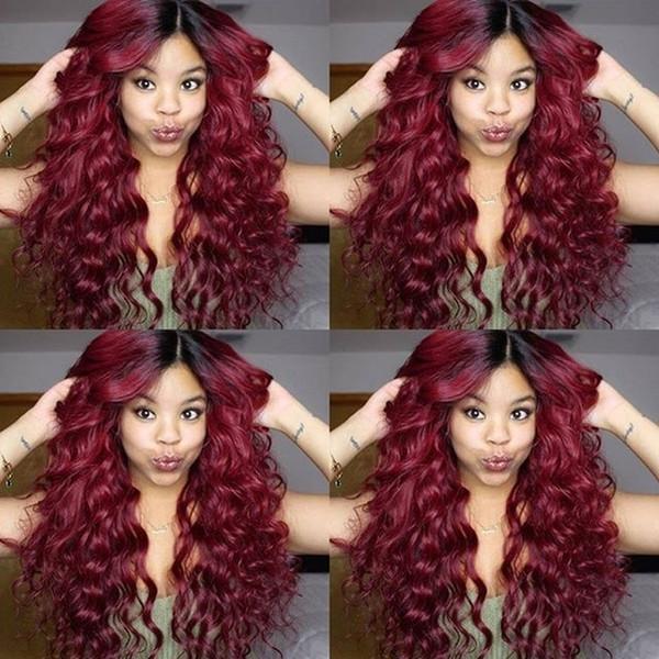 T1B / Rot Lose Welle Top Qualität Brasilianisches menschliches Haar