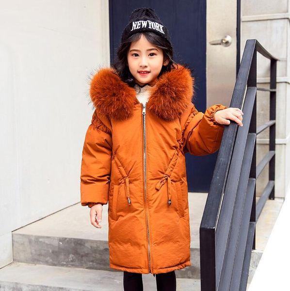 Toptan satış Çocuk giyim çocuk 2018 yeni kız aşağı ceket beyaz ördek aşağı uzun kalın ceket büyük çocuk