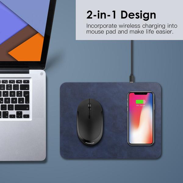 Wireless Mouse Pad cargador 2 en 1 QI de carga rápida Pad para iPhone X Nexus Samsung Galaxy y más dispositivos habilitados para Qi