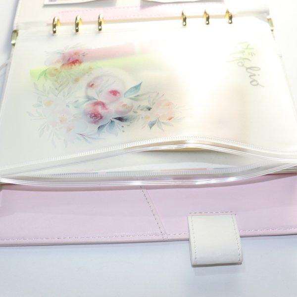 Domikee cute cartoon flower design PVC 6 holes index organizer inner pocket binder notebooks accessories stationery,A5A6