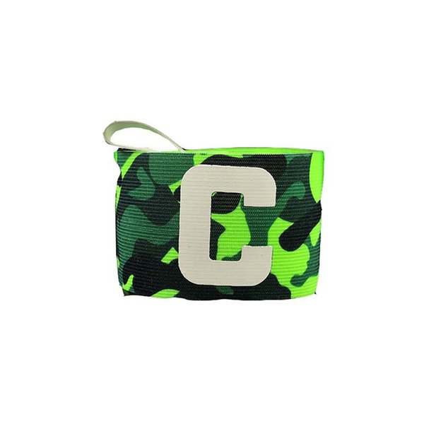 Football captain elbow armband Green camouflage adjustable elastic armband Paste wrapped C red Protective gear