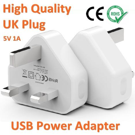 High Quality British UK Plug 5V1A USB Power Adapter Cell Phone Wall Charger CE RoHS Approved For iPhone X 8 iPad iPod
