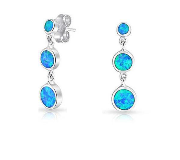 Vintage Blue Opal Drop Dangle Earrings Set 925 sterling silver Fire Opal Round Stud Earrings Jewelry For women