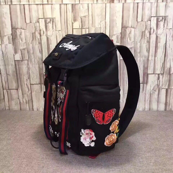 top popular 2020 Tiger Embroidery Techpack with embroidery luxury designer travel bag man backpack shoulder bags book bag High Quality drop shipping 2021