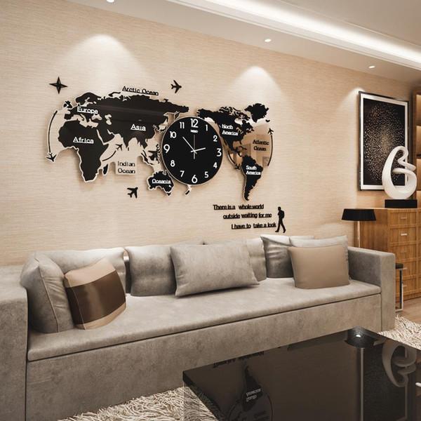 Acheter Creative Muet Carte Du Monde Forme Personnalité Horloge Murale Maison Aiguille Numérique Quartz Mur Montre De Mode Décoration Horloge Famille