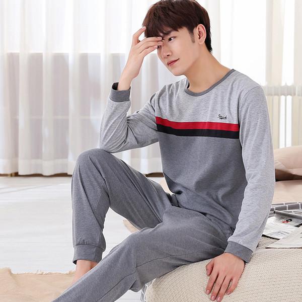 Neueste Männer Pyjama Sets 2017 Frühling Und Herbst Dünne Plus Größe Baumwolle langhülse Männlichen Nachtwäsche Plus Größe Teenage Lounge Set