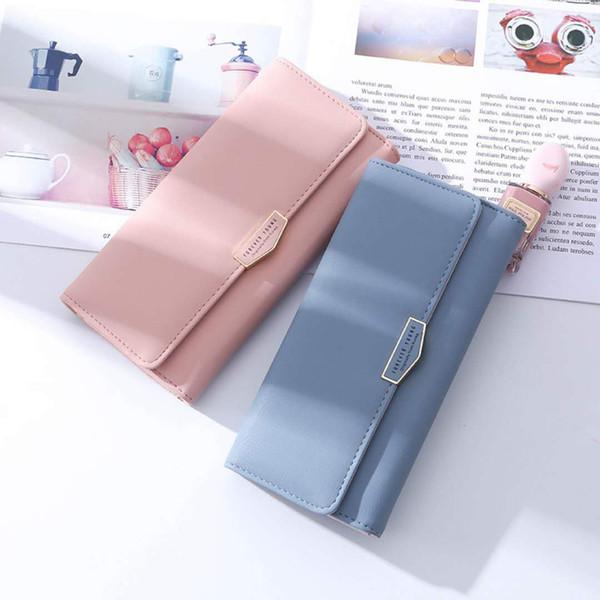Portefeuille à trois volets en cuir véritable avec blocage RFID pour les femmes - Portefeuille pour chéquier à embrayage pour femme - Bouclier contre le vol d'identité