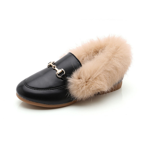 Black Hairy shoes EUR27-34 Rabbit Fur Shoes Girl Winter and Autumn Warm and breathable whithout box