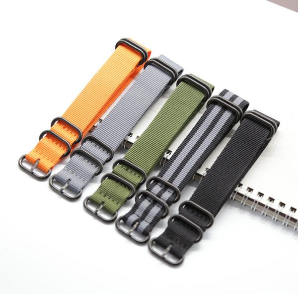 Nato Solide Noir Boucle Stripe Orange ZULU 20mm 22mm 24mm Bracelets de montre Hommes Femmes Montres Sangle Bracelet Bande Ceinture Ceintures