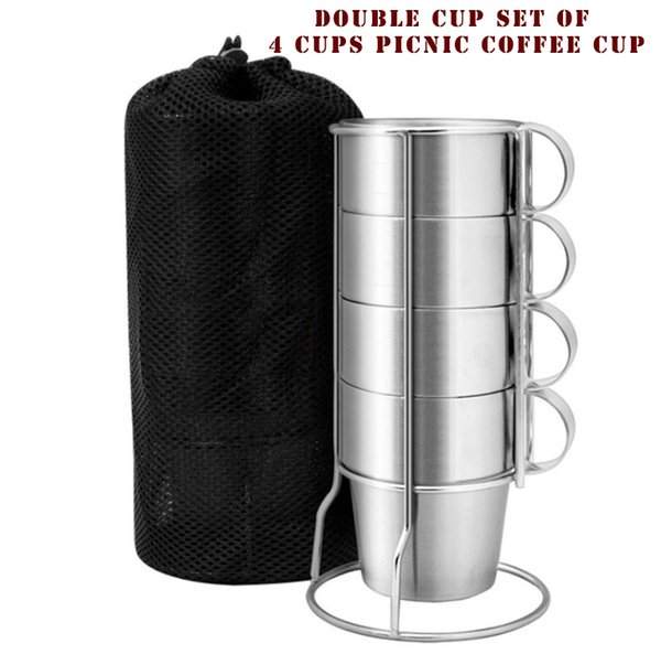 Outdoor non - magnetic stainless steel double cup 4 - piece set cup picnic heat - proof hot coffee cup beer mug wholesale