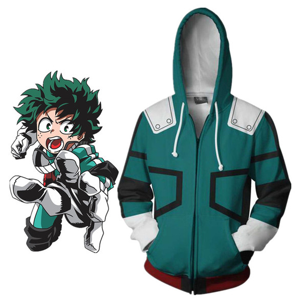 Anime My Hero Academia Izuku Midoriya traje chaqueta con capucha Boku no Hero Academia Cosplay Sudaderas de Halloween Mujeres Hombres Abrigo