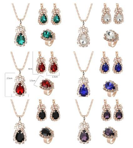 2019 Hot sales Bridal Jewelry Set fashion Luxurious crystal gemstone Earrings Ring Pendant Necklace 6 color selection 10set/lot