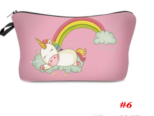 Beautiful Cosmetic Case Coins Purses Unicorn Printed Handbags Children Pencil Pouch Girl Makeup Bags Women Fashion Accessories Gifts