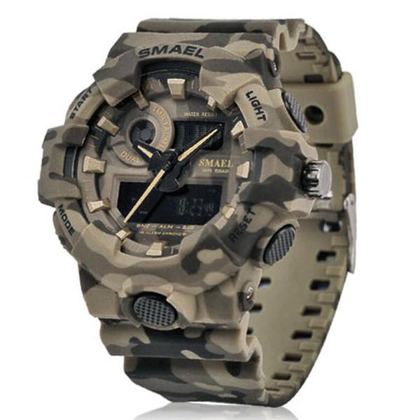 Neue Tarnung Uhr SMAEL Uhr Männer Sport LED Quarzuhr Männer Sport Armbanduhr 8001 Herren Armee Wasserdicht