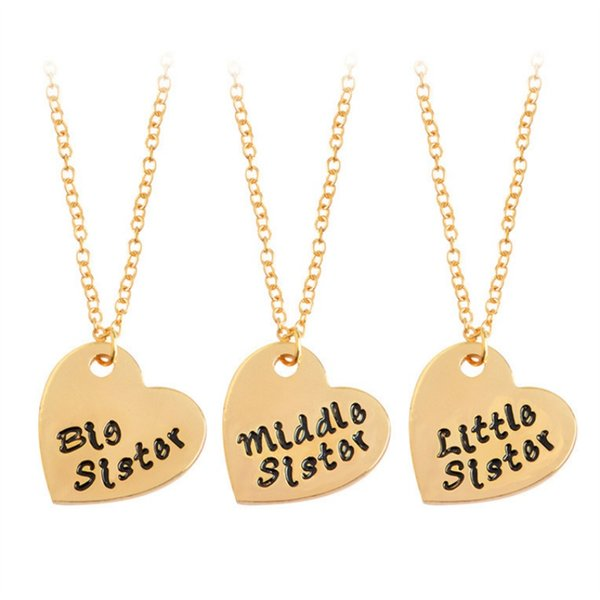 3pcs a set necklace Big /mid/lit Sis sister's best friend love chain two color for woman and girl