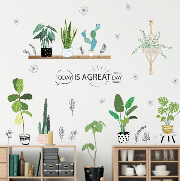 Plant Bonsai Wall Stickers Creative Bonsai Cactus Livingroom Decorations Kids Room Decals Living Room Mural Art Furniture Decor Posters