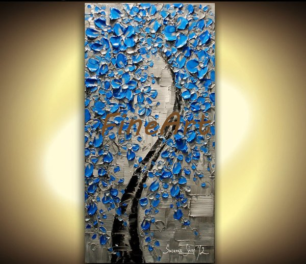 hand painted large wall art deco palette knife oil painting textured Blue Flower Cherry Blossom Tree Oil Painting abstract art canvas painti