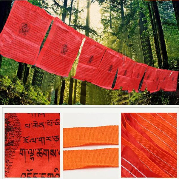 All Red 21 Faces /string Clear Pattern Freedom Prayer Mantra Silk Cloth 35*28cm 6.5 Meters Tibetan Buddhist Hanging Decorate Prayer Flags