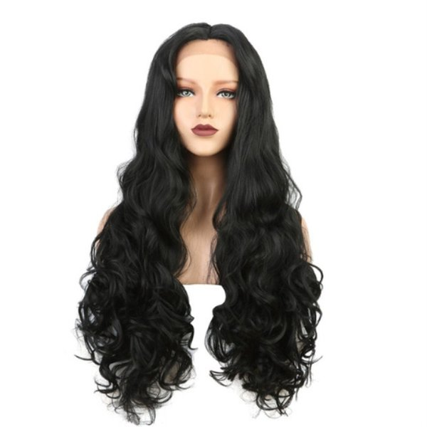 Top Quality Black Long Natural Body Wave Synthetic Lace Front Wigs Middle Part 180% Density High Temperature Fiber Hair Cheap Wigs For Women