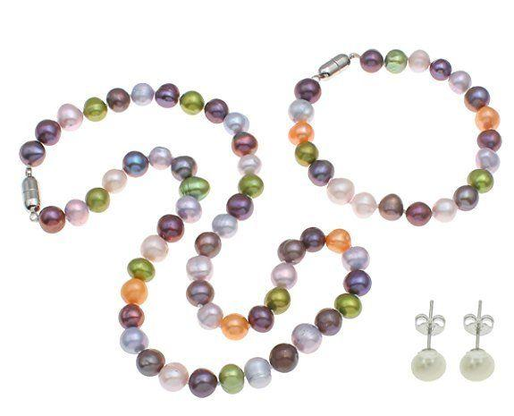 Hand made natural beautiful multiColour 7-8mm freshwater pearl necklace and bracelet and earrings set fashion jewelry