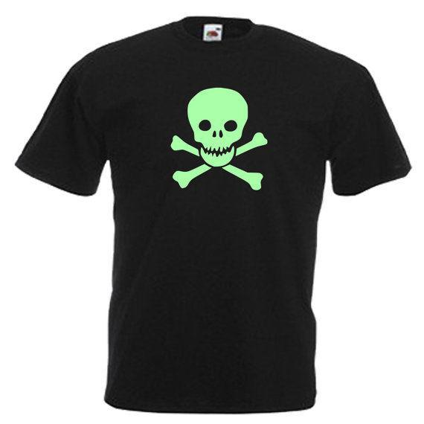 Skull Crossbones Glow In The Dark Mens Adults T Shirt