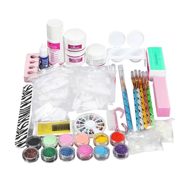 top popular Professional Nail Art Kit Sets Nail Care System Acrylic Powder Liquid Glitter Glue Toes Separators Brush Tweezer Primer Tips 2019