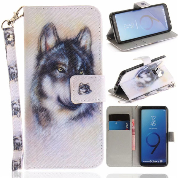 Flip Wallet Case For Samsung Galaxy S9 Cases Coque Animal Wolf Owl Tiger Lion Painted PU Leather Phone bags accessories Cover