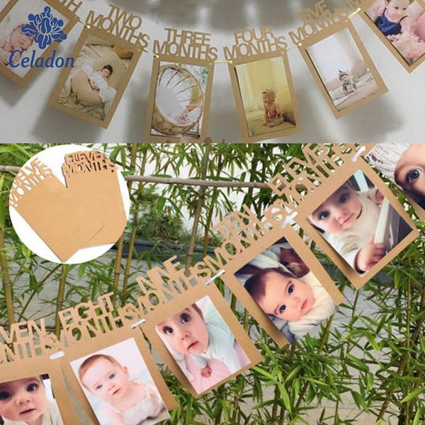 14 x 23 cm Baby-Dusche Papier ein-zwölf Monaten Banner Party Taufe Dekorationen Bunting begünstigt Supplies blau rosa Babyshower